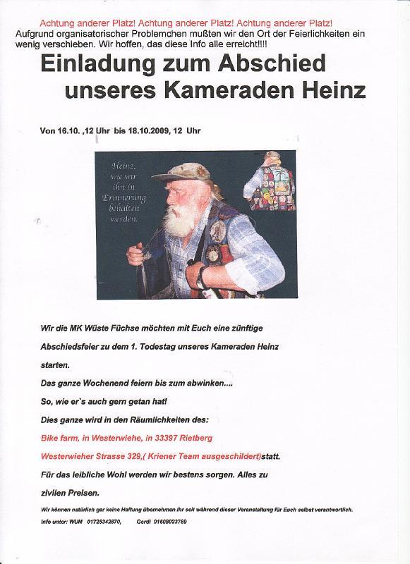 einladungen von befreundeten bikern/2009.10.16 abschied von heinz, Einladung